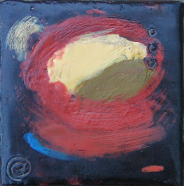 "2005  4"" x 4""  encaustic on canvas"