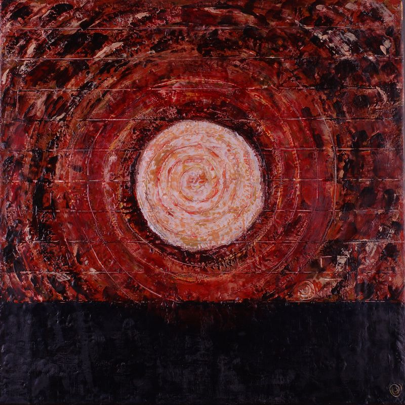 "2005 20""x 20"" encaustic on canvas <br><b>(ca)</b>"
