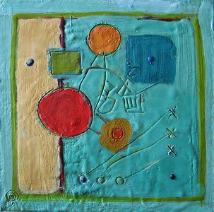 "2005 8""x 8""  encaustic on canvas"
