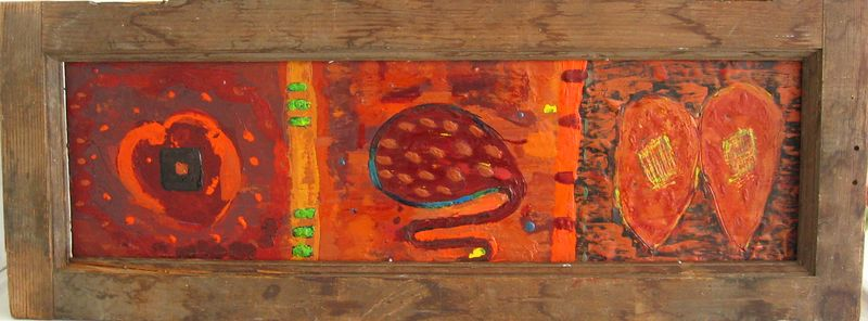 "2005 8""x 27"" encaustic on wood panel (ca)"