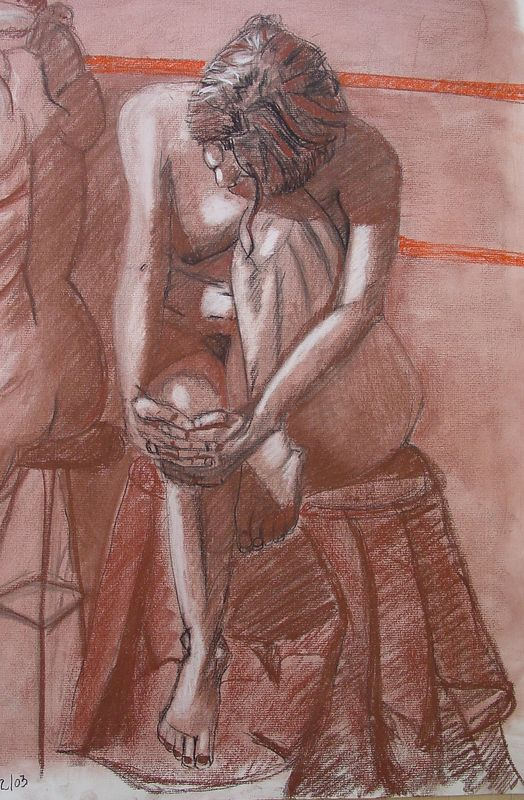 2002<br /> charcoal on toned paper