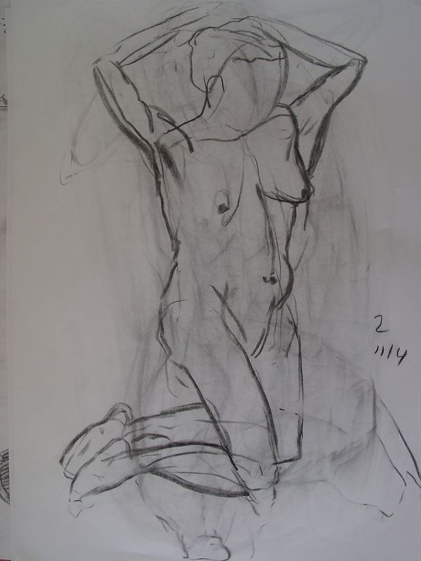 2 Minute   2003<br /> charcoal on paper