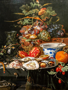 Still Life with Fruit, Oysters, and a Porcelain Bowl