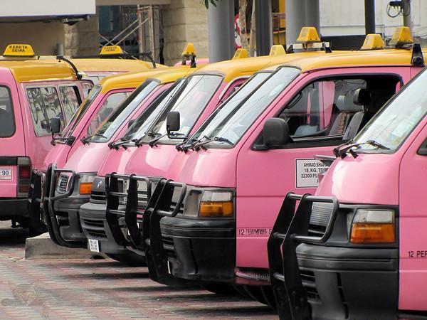 Pink Minibuses on Pangkor Island