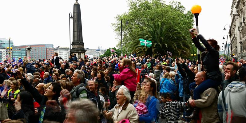 People Celebrating Queen Elizabeth II Diamond Jubilee Thames Pageant in London