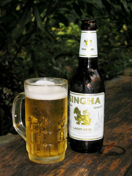 Cool Glass of Singha Beer in Thailand