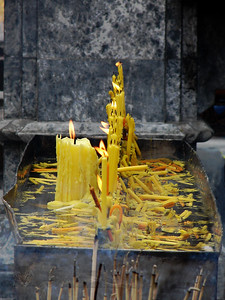 Candles in a Thai Temple