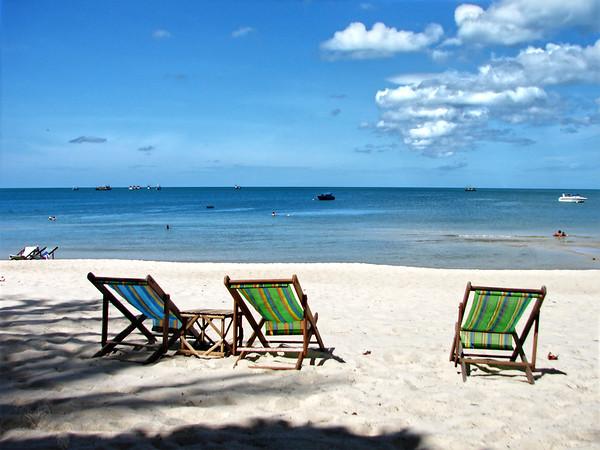 Deckchairs on a Beach in Ko Pha Ngan