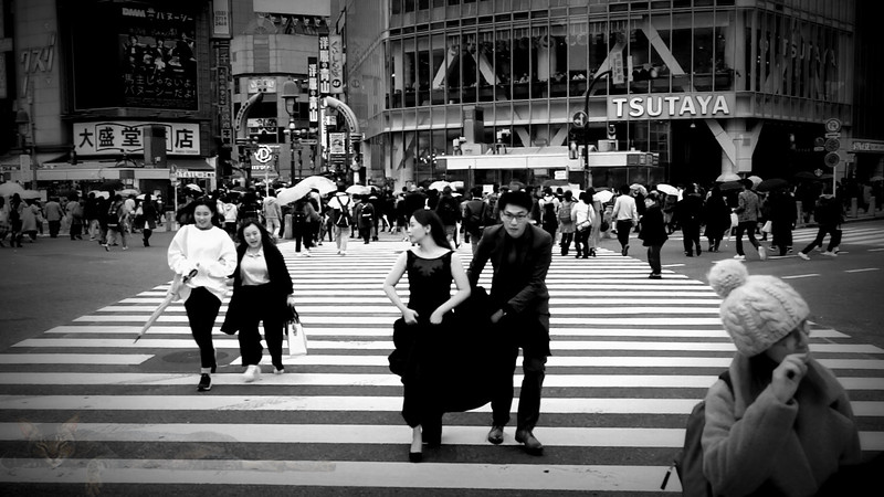 Wedding Couple at Shibuya Crossing