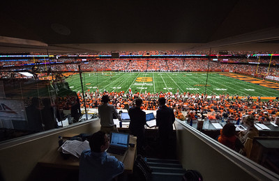 NCAA Network calls plays at the Syracuse football this past Saturday in the press box.