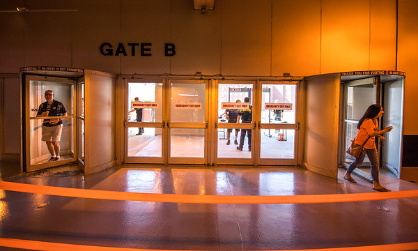 Fans enter the Carrier Dome in preparation for the Syracuse Orange football game against Western Michigan.