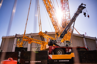 Consturction continues at the dome as crews rig the crane.