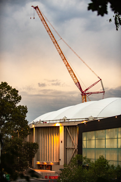 Walt the crane towers over the dome as it is one of the larget cranes in the US.