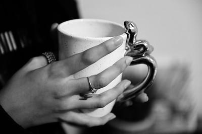 Aanya enjoying a nice cup of tea before starting her homework.