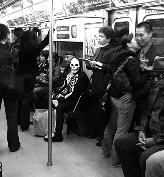 "DEATH RIDES THE ""B"" TRAIN, NEW YORK CITY SUBWAY"