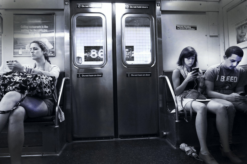 CELLPHONERS, NEW YORK CITY, SUBWAY