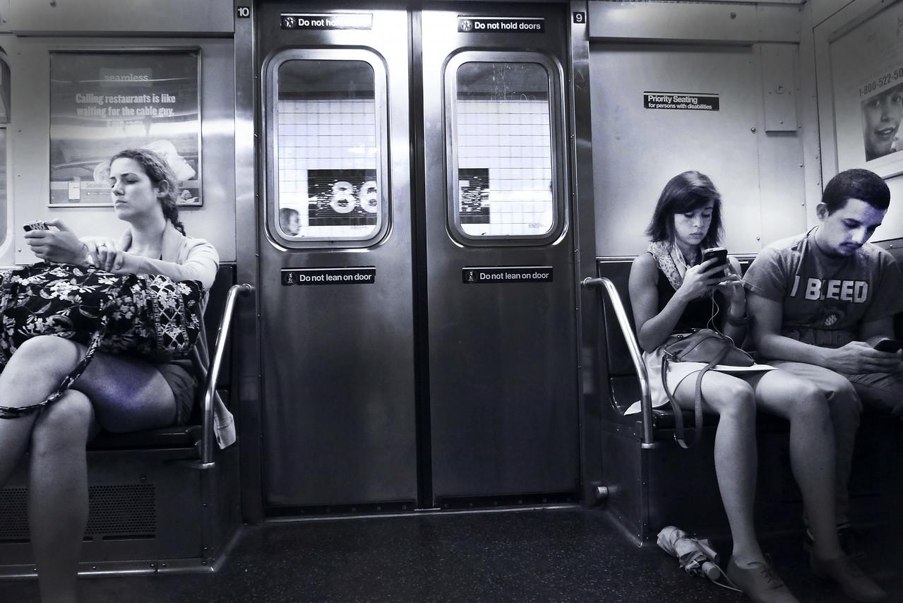 CELLPHONERS, NEW YORK CITY, SUBWAY