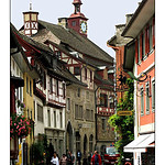 Stein am Rhein ,The town has a well-preserved mediÊval centre, The mediÊval part of the town has been pedestrianised and is a peaceful and charming environment. Many of the mediÊval buildings are painted with beautiful frescoes