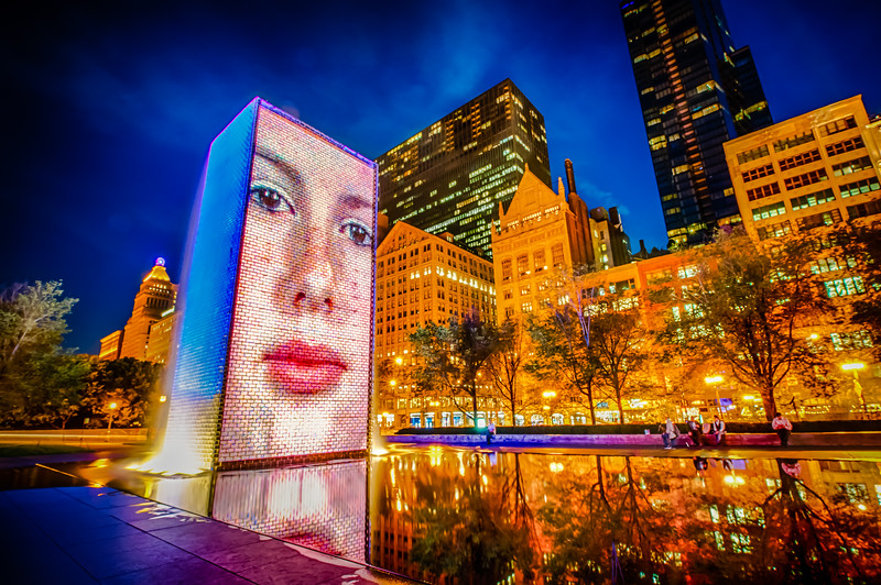 Crown Fountain Just After Sunset