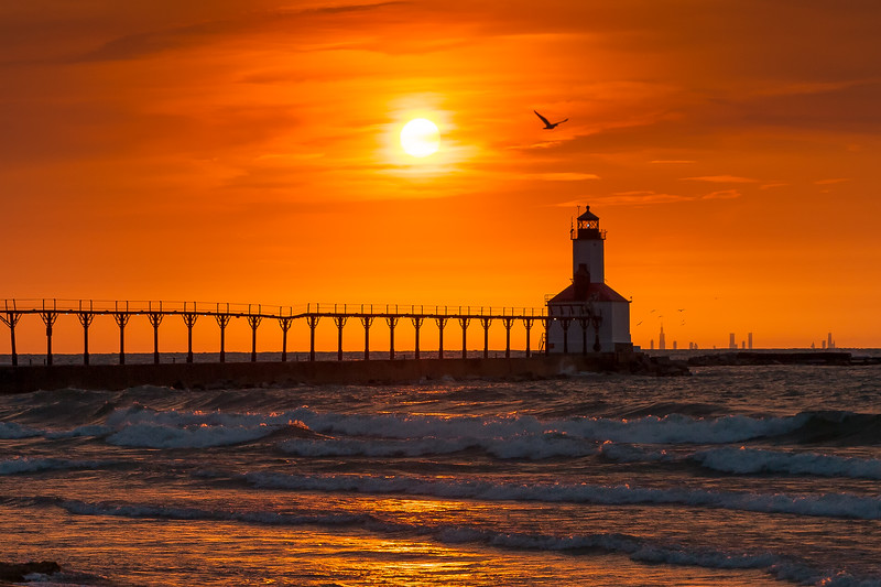 Days End from Michigan City - Chicago in the Background (Bird Version)
