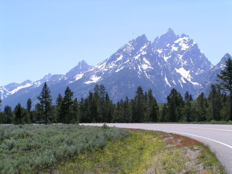 1. We were heading south on the Jenny Lake road. That's Grand Teton straight ahead. up to 13,770.
