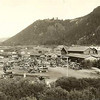 21. I got this picture, taken by Harrison Crandall, from the internet. One of these buildings, I assume the large one, was Sheffield's old Teton Lodge. That's Signal Mountain to the south.