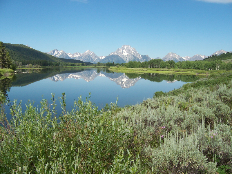 1.  The Oxbow bend of the Snake River is just a couple of miles from the Lodge. This particular morning the still air provided a good reflection.