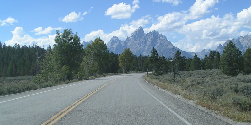 1. Heading south thru Grand Teton National Park. Just about anywhere along the road affords a grand view of the mountains.