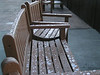 4. The benches on the back deck of the lodge.