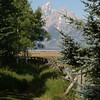 17. Across from the corral, near the entrance to the ranch. That's Grand Teton peak in the distance, 13,770'.
