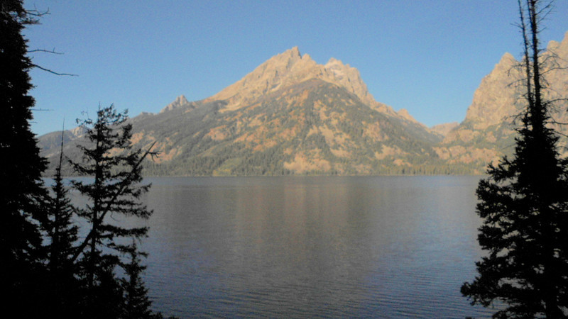 1. After about 3 wks of smoky visibility, the haze finally cleared up this week. I drove into town early one morning and stopped at the overlook for Jenny Lake. That's Tewinott mountain west of the lake.
