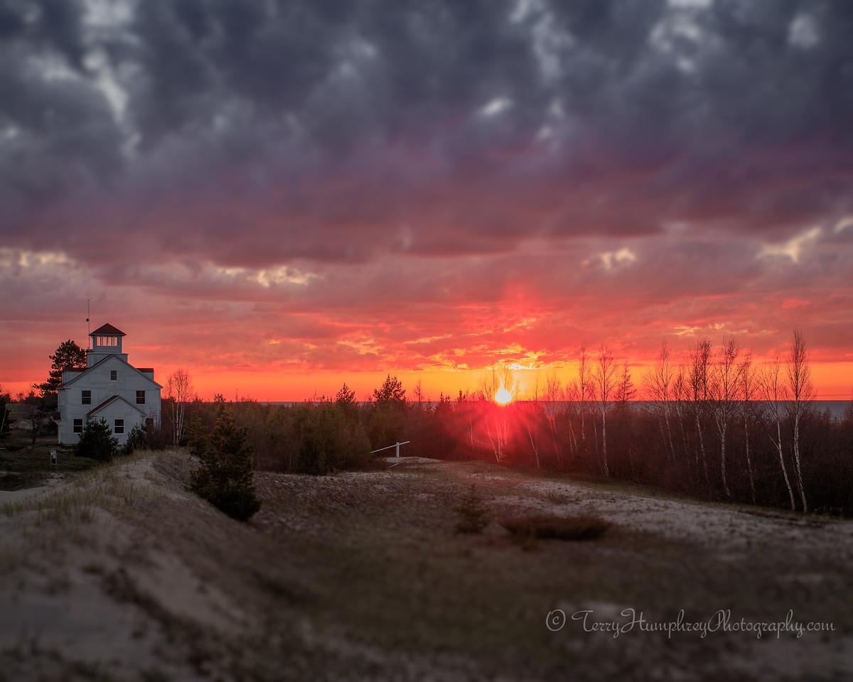 Sunset at Vermilion Point Lifesaving Station