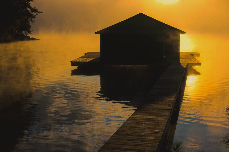 Sunapee Lake Boathouse sunrise, NH