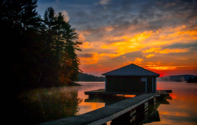 Sunapee Lake Boathouse sunrise, NH #3