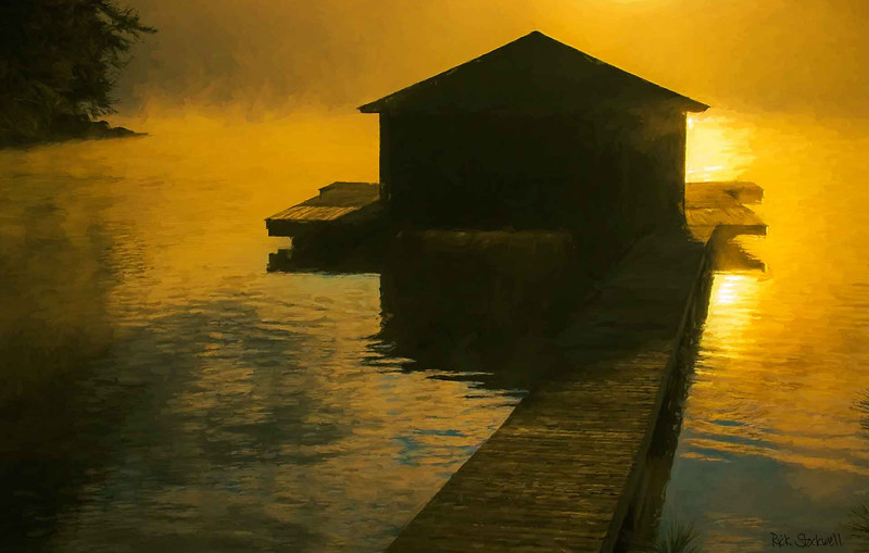 Sunapee Lake Boathouse sunrise, NH #2