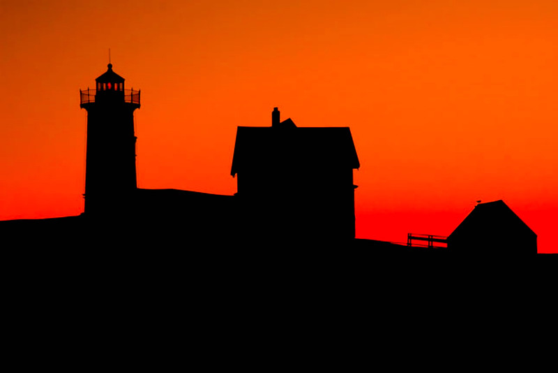 Maine coastal silhouette