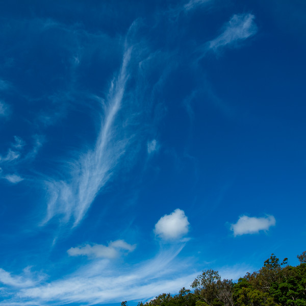 Delicate Cirrus white cloud in a blue sky. Australia.