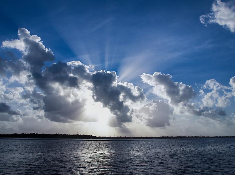 Magnificent Crepuscular rays Cumulus Cloudscape.