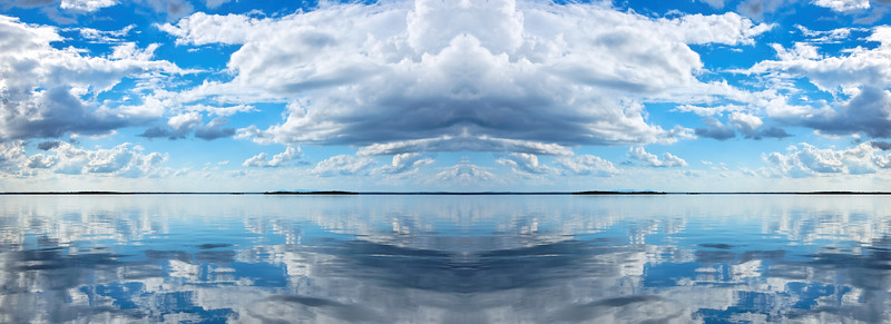 Atmospheric sky art image. White Cumulus  cloud in blue sky. Australia.