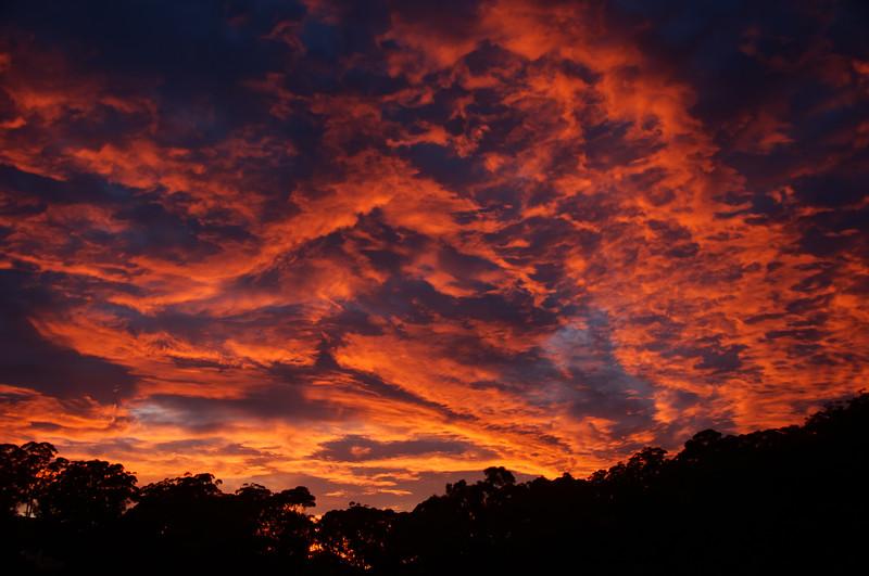 Dramatic Crimson Stratocumulus Sunrise cloudscape. Australia