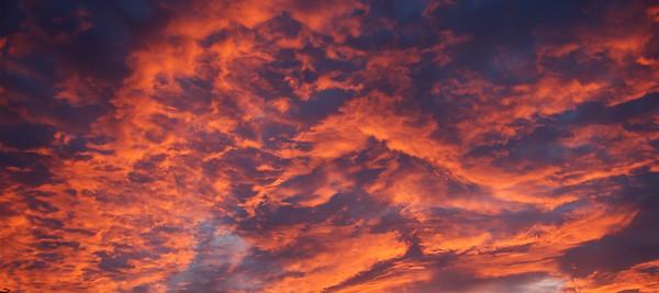 Orange altocumulus Sunrise Skyscape. Australia