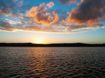 Orange cumulus cloudy Sunrise Seascape. Australia