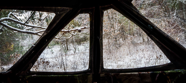 Not a bad view. Blind also helps keep the snow and wind off us, but I felt limited with my sight due to the screens over the windows.