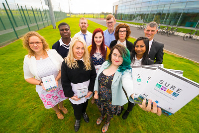 SURE (Science Undergraduate Research Experience) Conference, WIT Arena. Pictured are speakers Mark Armitage WIT,  Anna Karpinska IT Carlow,  Sinead Daly WIT, James Cullen WIT,  Rupali Ahashan WIT, Hilkiah Ako WIT, Jessica Murphy WIT, Siobhan O'Neill CIT, Dr. Claire Lennon and Aubrey Storey. Picture: Patrick Browne