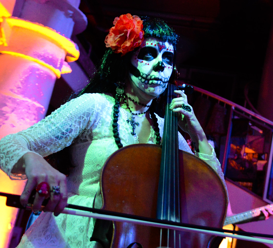 Alexis Kauffman, cellist for The Torches, plays for Dia de los Muertos: The Art of Rememberance costume party at the Torpedo Factory Friday night.