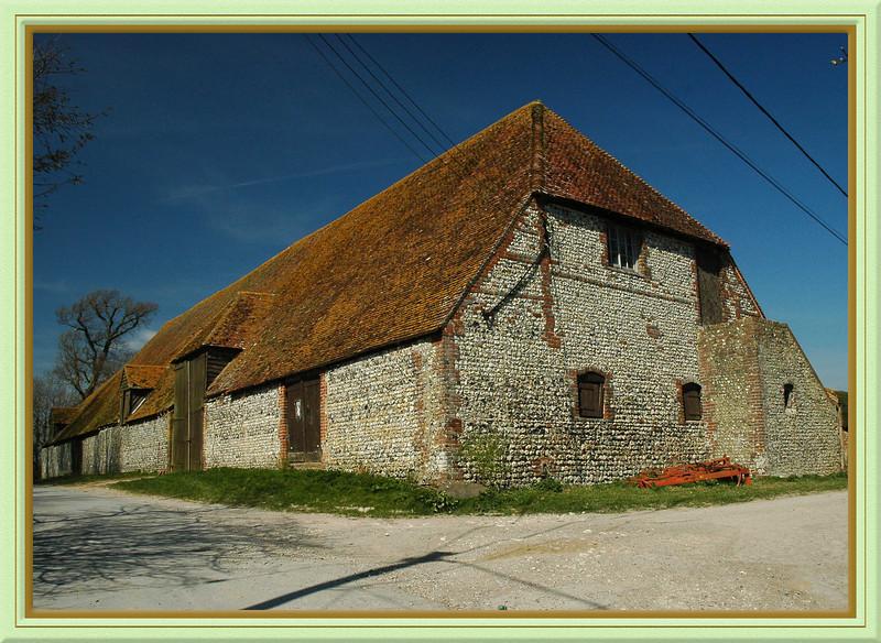 Sussex flint barn at Alciston