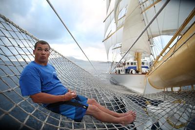 Riding the Bow Netting, Tall Ship Royal Clipper, Caribbean Sea