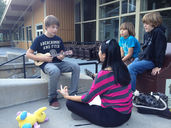 Writers Workshops 2012<br /> Kim Teoh teaches the kids Ukelele