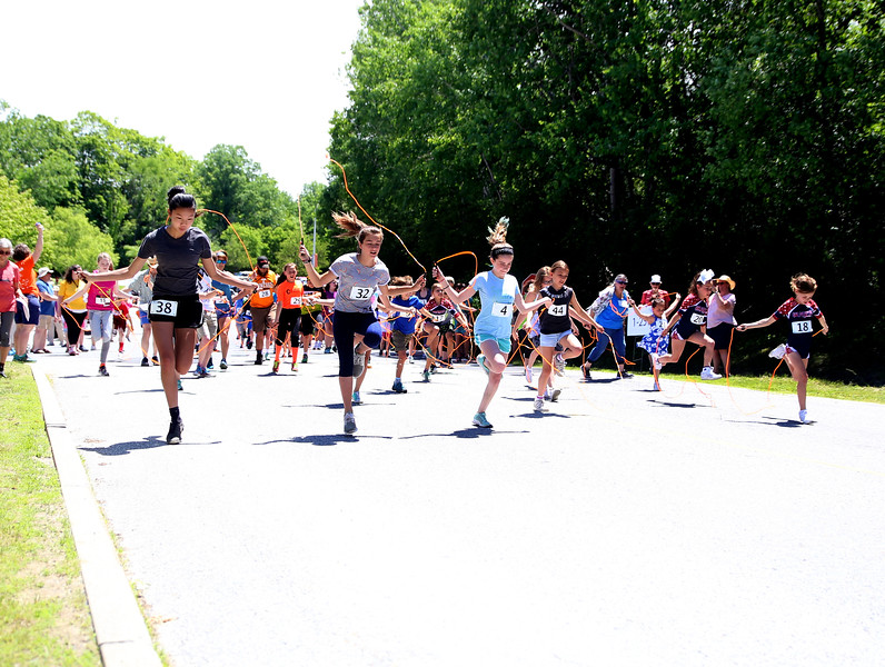 HOLLY PELCZYNSKI - BENNINGTON BANNER participants take part in the World - Record Jump Rope Race on Sunday afternoon in Bennington during the Southwestern Vermont Medical Center's 100th Birthday and Community Day celebration.