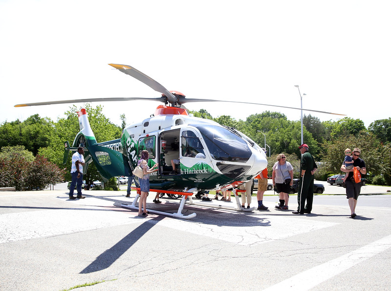 HOLLY PELCZYNSKI - BENNINGTON BANNER A life-flight helicopter lands at the helipad for viewing during the Southwestern Vermont Medical Center's 100th birthday and Community Day celebration on Sunday afternoon in Bennington.